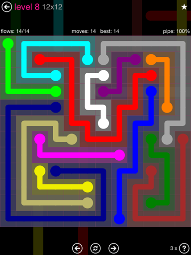 Solution and Answer to the Puzzle for Flow Pink Pack Set 12x12 Level 8
