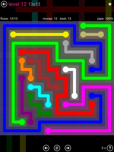 Solution and Answer to the Puzzle for Flow Pink Pack Set 13x13 Level 12