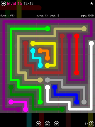 Solution and Answer to the Puzzle for Flow Pink Pack Set 13x13 Level 15