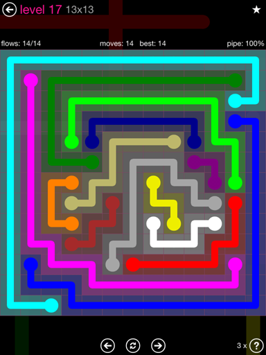 Solution and Answer to the Puzzle for Flow Pink Pack Set 13x13 Level 17