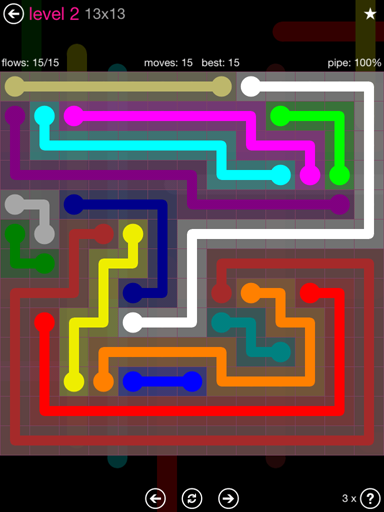 Solution and Answer to the Puzzle for Flow Pink Pack Set 13x13 Level 2