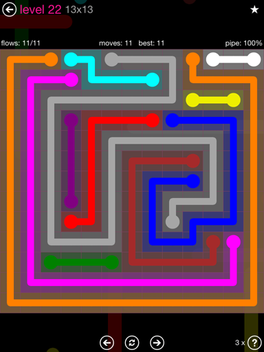Solution and Answer to the Puzzle for Flow Pink Pack Set 13x13 Level 22