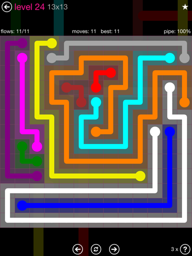 Solution and Answer to the Puzzle for Flow Pink Pack Set 13x13 Level 24