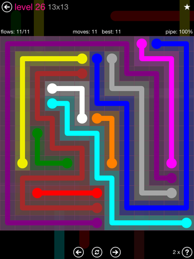 Solution and Answer to the Puzzle for Flow Pink Pack Set 13x13 Level 26