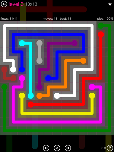 Solution and Answer to the Puzzle for Flow Pink Pack Set 13x13 Level 3