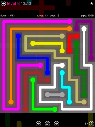 Solution and Answer to the Puzzle for Flow Pink Pack Set 13x13 Level 8