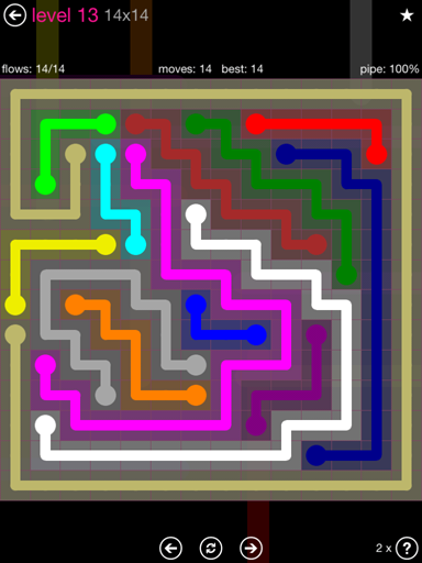 Solution and Answer to the Puzzle for Flow Pink Pack Set 14x14 Level 13