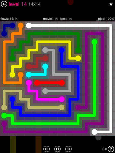 Solution and Answer to the Puzzle for Flow Pink Pack Set 14x14 Level 14
