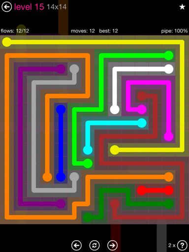 Solution and Answer to the Puzzle for Flow Pink Pack Set 14x14 Level 15
