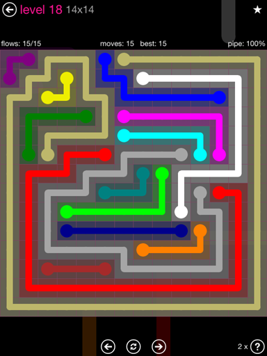 Solution and Answer to the Puzzle for Flow Pink Pack Set 14x14 Level 18