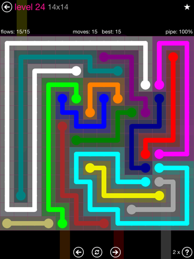 Solution and Answer to the Puzzle for Flow Pink Pack Set 14x14 Level 24