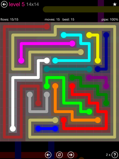 Solution and Answer to the Puzzle for Flow Pink Pack Set 14x14 Level 5