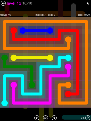 Solution and Answer to the Puzzle for Flow Purple Pack Set 10x10 Level 13