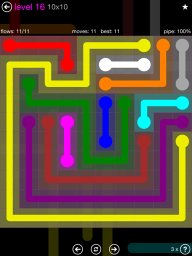 Solution and Answer to the Puzzle for Flow Purple Pack Set 10x10 Level 16