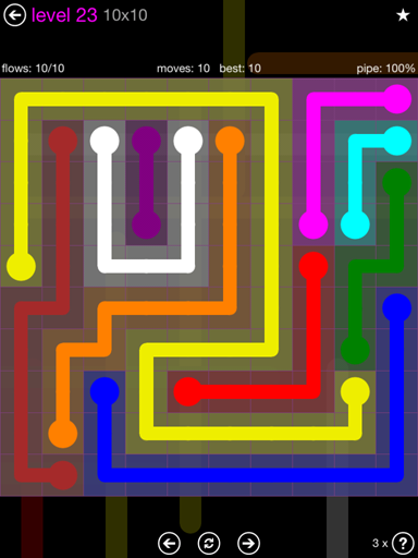Solution and Answer to the Puzzle for Flow Purple Pack Set 10x10 Level 23
