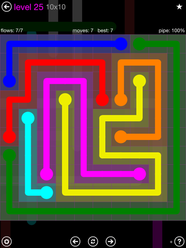 Solution and Answer to the Puzzle for Flow Purple Pack Set 10x10 Level 25