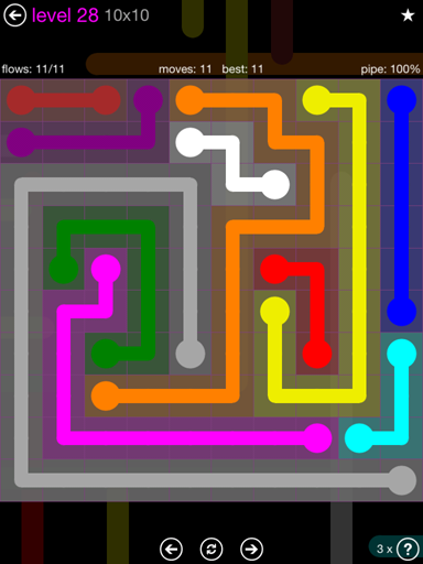 Solution and Answer to the Puzzle for Flow Purple Pack Set 10x10 Level 28