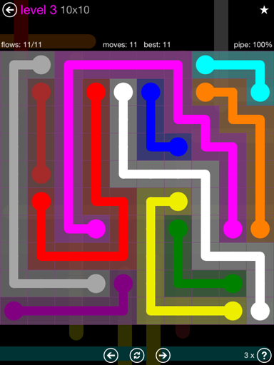 Solution and Answer to the Puzzle for Flow Purple Pack Set 10x10 Level 3