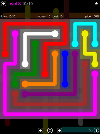 Solution and Answer to the Puzzle for Flow Purple Pack Set 10x10 Level 8