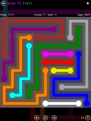 Solution and Answer to the Puzzle for Flow Purple Pack Set 11x11 Level 15