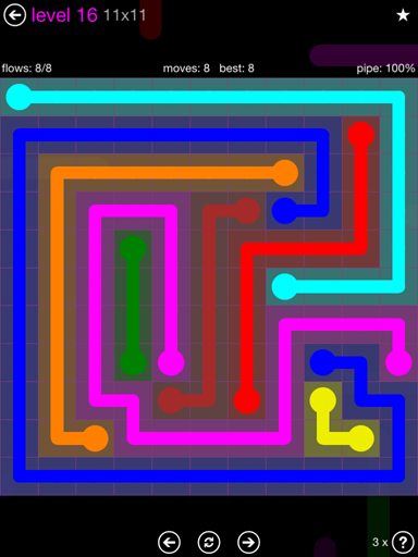 Solution and Answer to the Puzzle for Flow Purple Pack Set 11x11 Level 16
