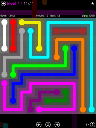 Solution and Answer to the Puzzle for Flow Purple Pack Set 11x11 Level 17