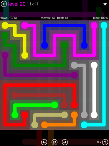 Solution and Answer to the Puzzle for Flow Purple Pack Set 11x11 Level 20