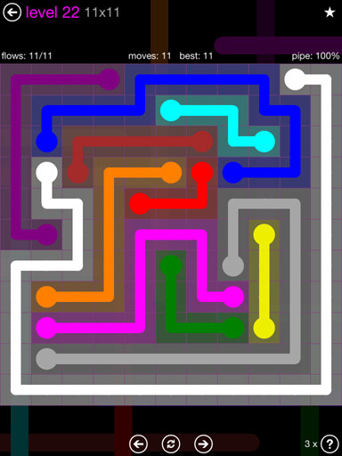 Solution and Answer to the Puzzle for Flow Purple Pack Set 11x11 Level 22