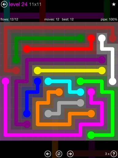 Solution and Answer to the Puzzle for Flow Purple Pack Set 11x11 Level 24