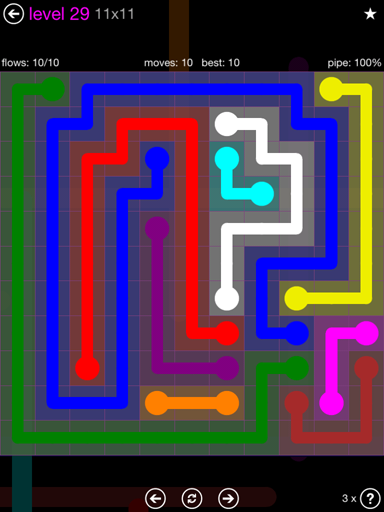 Solution and Answer to the Puzzle for Flow Purple Pack Set 11x11 Level 29