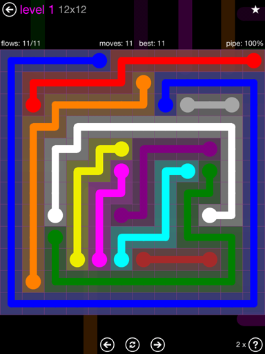 Solution and Answer to the Puzzle for Flow Purple Pack Set 12x12 Level 1