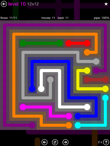Solution and Answer to the Puzzle for Flow Purple Pack Set 12x12 Level 10