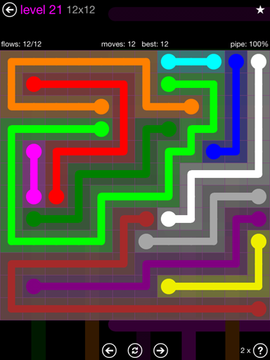 Solution and Answer to the Puzzle for Flow Purple Pack Set 12x12 Level 21