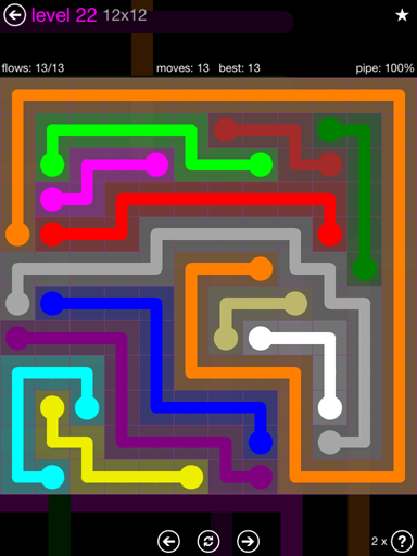 Solution and Answer to the Puzzle for Flow Purple Pack Set 12x12 Level 22