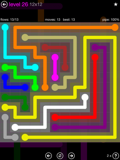 Solution and Answer to the Puzzle for Flow Purple Pack Set 12x12 Level 26