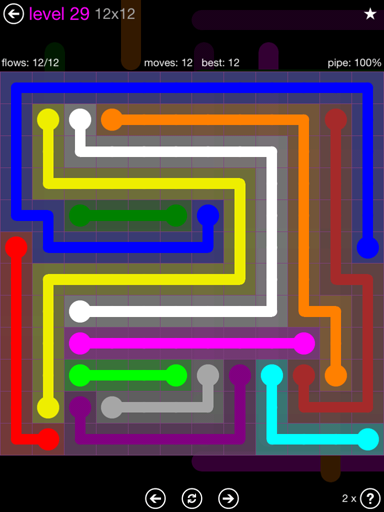 Solution and Answer to the Puzzle for Flow Purple Pack Set 12x12 Level 29