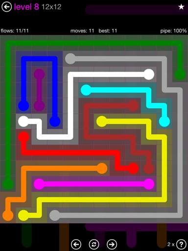 Solution and Answer to the Puzzle for Flow Purple Pack Set 12x12 Level 8