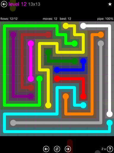 Solution and Answer to the Puzzle for Flow Purple Pack Set 13x13 Level 12