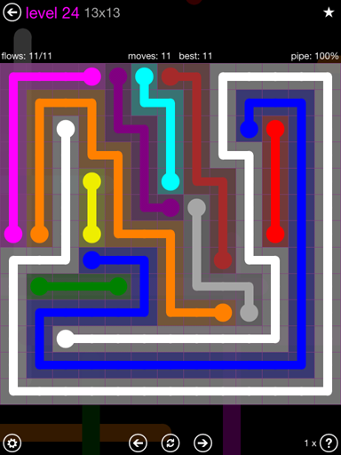 Solution and Answer to the Puzzle for Flow Purple Pack Set 13x13 Level 24