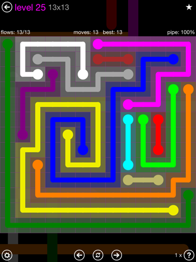 Solution and Answer to the Puzzle for Flow Purple Pack Set 13x13 Level 25