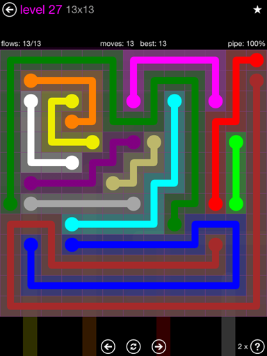 Solution and Answer to the Puzzle for Flow Purple Pack Set 13x13 Level 27