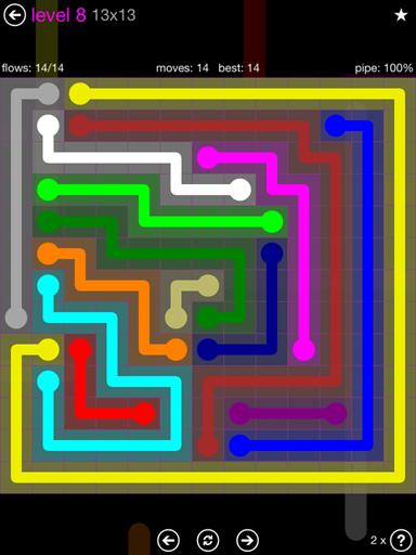 Solution and Answer to the Puzzle for Flow Purple Pack Set 13x13 Level 8