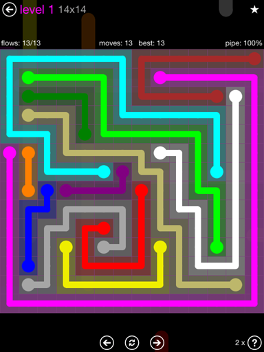 Solution and Answer to the Puzzle for Flow Purple Pack Set 14x14 Level 1