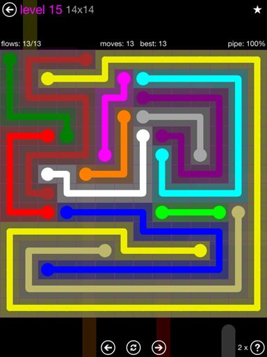 Solution and Answer to the Puzzle for Flow Purple Pack Set 14x14 Level 15