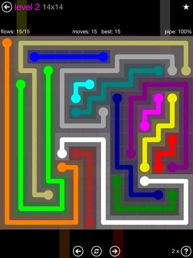 Solution and Answer to the Puzzle for Flow Purple Pack Set 14x14 Level 2
