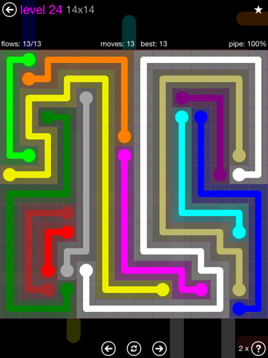 Solution and Answer to the Puzzle for Flow Purple Pack Set 14x14 Level 24
