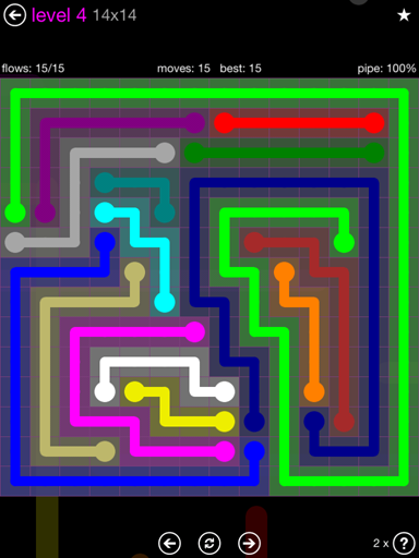 Solution and Answer to the Puzzle for Flow Purple Pack Set 14x14 Level 4