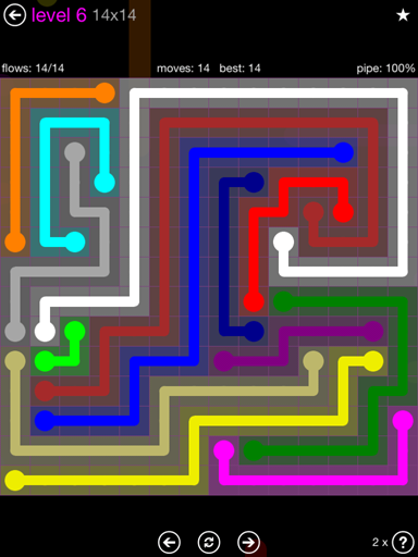 Solution and Answer to the Puzzle for Flow Purple Pack Set 14x14 Level 6