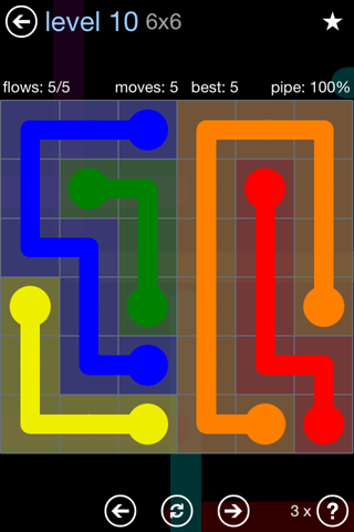 Solution and Answer to the Puzzle for Flow Rainbow Pack Set 5x5 Level 10