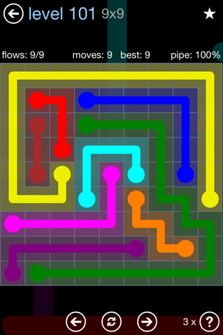Solution and Answer to the Puzzle for Flow Rainbow Pack Set 5x5 Level 101